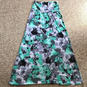 Teal flowered maxi skirt